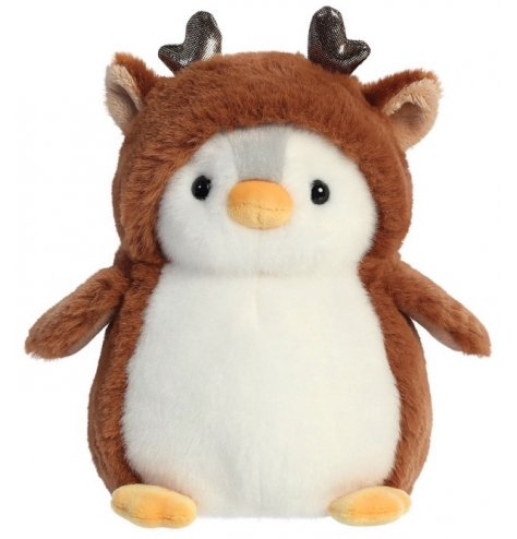 A cute and cuddly penguin soft toy dressed up as a Reindeer