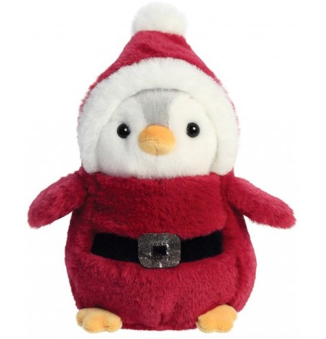 A cute and cuddly penguin soft toy dressed up as Santa