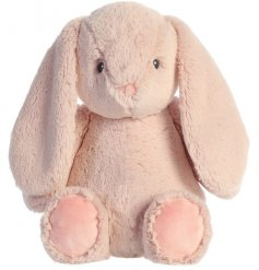 A super snuggly and cuddly bunny soft toy with a charming pink hue colouring