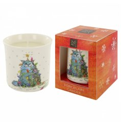 A Porcelain Christmas Cat Candle
