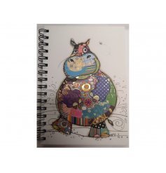 A6 Hippo Notebook with spiral binding