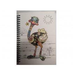 A5 Spiral Binded Ostrich Design Notebook