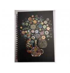 Spiral Binded A5 notebook, vase of flowers design