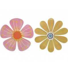 A mix of 2 colourful floral wall ornaments. A cheerful addition to any outdoor living space.