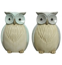 Assorted colours of grey blue and green blue. These owls will be a charming feature to any home, kitchen or garden.