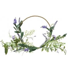 A delicate artificial lavender wreath with pretty purple petals and entwining vines