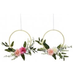 An assortment of 2 floral wreaths. Stunning artificial flowers in pink and pastel pink colours.