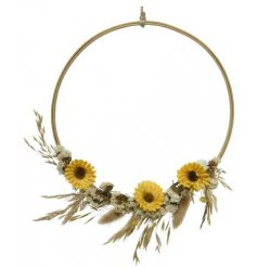 This spring inspired wreath with artificial sunflowers and grasses is a country style must have.
