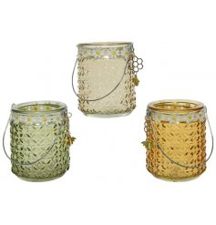 Three Assorted Glass Tealight Holders with Daisy Flower Edge and Bee Hangers