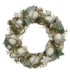 Polyester Wreath with Flowers, Foam Eggs And Butterfly Decoration