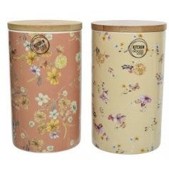 Two Assorted Porcelain Storage Pots in Floral Design
