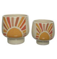 Two Terracotta Planters in Colourful Sun Design