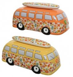 Two Assorted Terracotta Money Banks in Colourful Flower Bus Design, 10.5cm