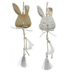 A Bunny Hanging Decoration with Velvet and Tasseled Detailing