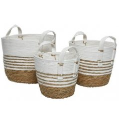 Grass Baskets in Netural and White Stripe, Set of 3