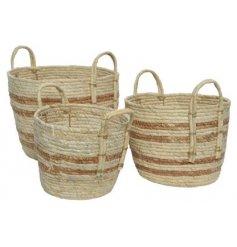 A Set of Three Cornleaf Round Baskets in Stripe