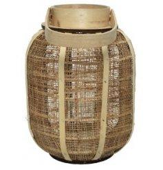 A Round Lantern in Hessian Fabric, 35cm