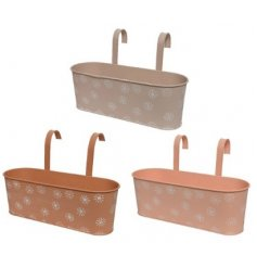 Three Assorted Iron Hanging Troughs in a Pastel Flower Design