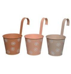 Three Assorted Iron Round Hanging Planters in Sun Design, 24cm
