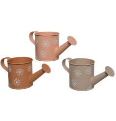 3 Coloured Metal Watering Can Planters With Flower Print Design