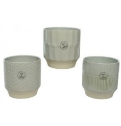 Three Assorted Stoneware Planters in Olive Green, 13cm