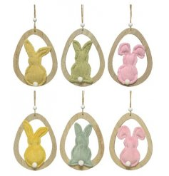 6 Pastel Coloured Hanging Bunny Decorations
