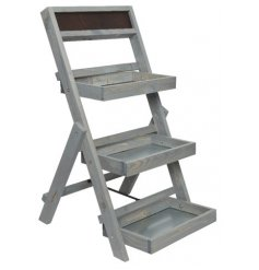 Pine 3 Tier storage Unit In Grey Washed Colour