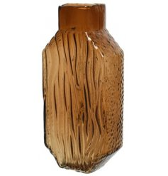 A Vintage Style Brown Glass Vase, in a Water Wave Design, 30cm