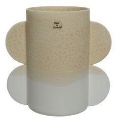 A Grey/Beige Two Tone Vase with Decorative Design