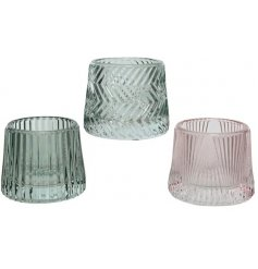 3 different shades of coloured glass T-Light holders