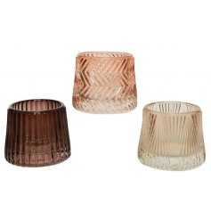 3 different shades of brown glass T-Light holders