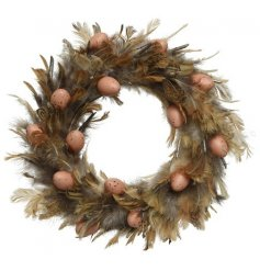 Natural Feathers on a Willow Wreath Base, with egg decoration