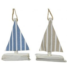 Two assorted sailing boats with a jute hanger.