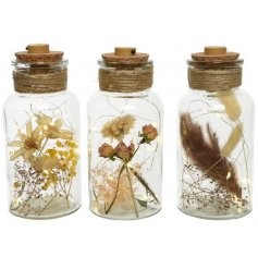 LED Glass Jar in Neutral Colours, 17.5cm