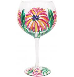 Gin Glass with Tropical Design