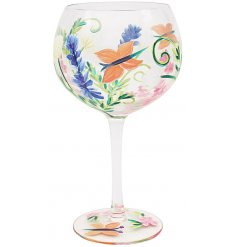 Gin Glass With Butterfly Design
