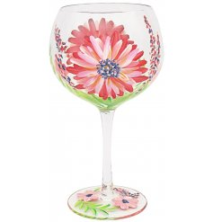 Gin Glass. with Flower Print