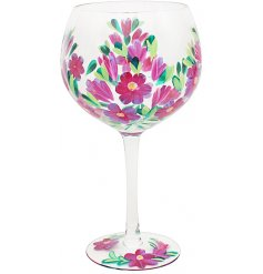 Hand Painted Gin Glass With Floral Design