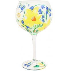 Gin Glass Bluebells and Daffodils