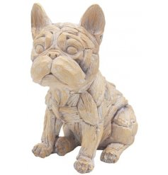 Sure to add a hint of rustic charm to any home space, a delightful little dog ornament set with a driftwood inspired dec