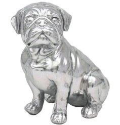 Silver Art Pug Sitting