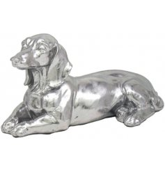 Obedient and calm silver ornamental dog to compliment any living room
