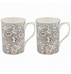 A Set of 2 Ceramic Floral Mugs
