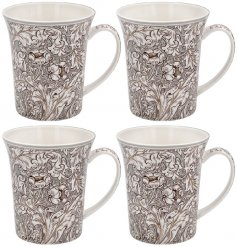 A Neutral Patterned Set of 4 Mugs