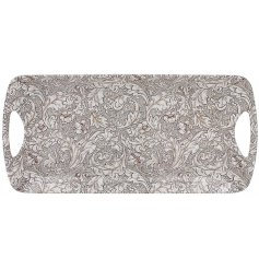 A Neutral Toned Floral Patterned Tray