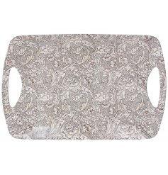 A Large Traditional Themed Tray With Floral Decal