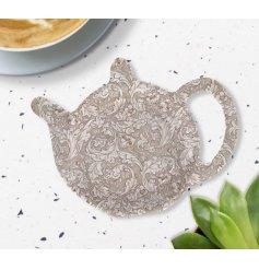 A Neutral Toned Floral Tea Bag Tidy