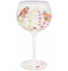 Floral Garden Bird Design Gin Glass