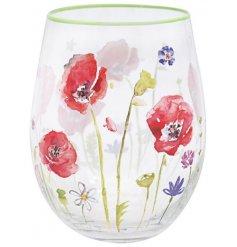 Stemless Glass With Poppy Design