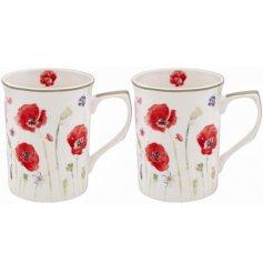 Set Of 2 Poppy Fields Mugs